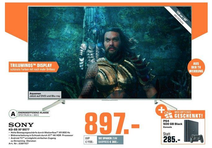 🔥 Sony KD 55XF8577 55 4K Fernseher + PS4 Slim 500GB zusammen 897€ (statt 1.241€)
