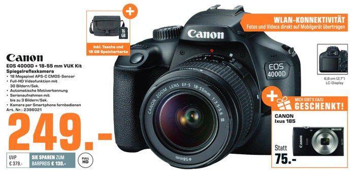 🔥 CANON EOS 4000D mit 18 55mm Objektiv + Tasche + Karte + CANON Ixus 185 für 253,99€ (statt 338€)