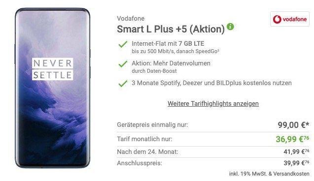 OnePlus 7 Pro mit 256GB für 99€ + Vodafone Allnet Flat mit 7GB LTE für 36,99€ mtl.   junge Leute 12GB LTE