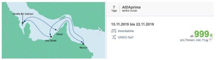 🚢 AIDA Traumstart: Orient ab Dubai für 7 Tage auf der AIDAprima inkl. Flüge ab 999€ pro Person