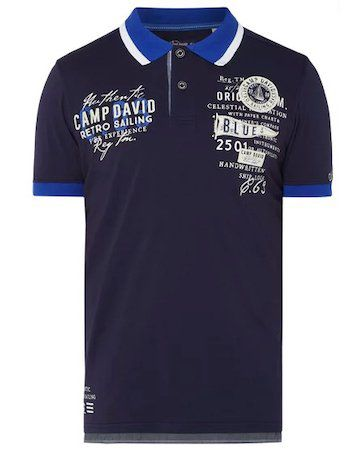 Camp David Poloshirt mit Logo Applikationen für 31,99€(statt 40€)   nur XL und XXL