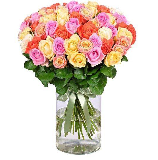 44 bunte Rainbow Roses mit 50cm Länge für 24,98€