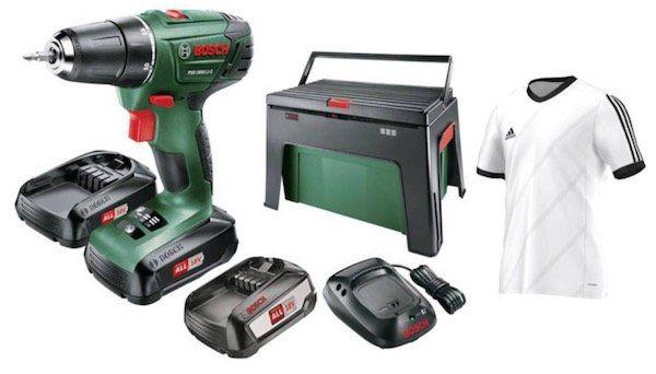 Bosch PSR 1800 LI 2 Akkubohrschrauber + 3 x Akkus + Ladegerät + Workbox + adidas Trikot (Größe L) für 133€ (statt 179€)