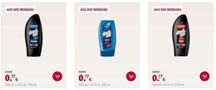 Aktuelle ROSSMANN Angebote mit z.B. Duschdas Dusche (250ml) nur 0,77€ (statt 1,39€)