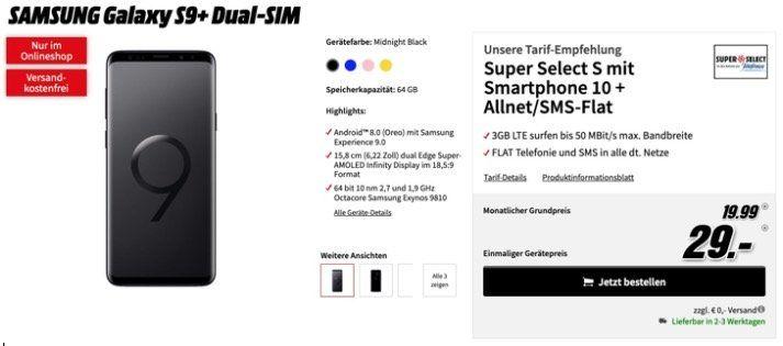 Samsung Galaxy S9+ für 29€ + o2 Allnet Flat mit 3GB LTE für 19,99€ mtl.