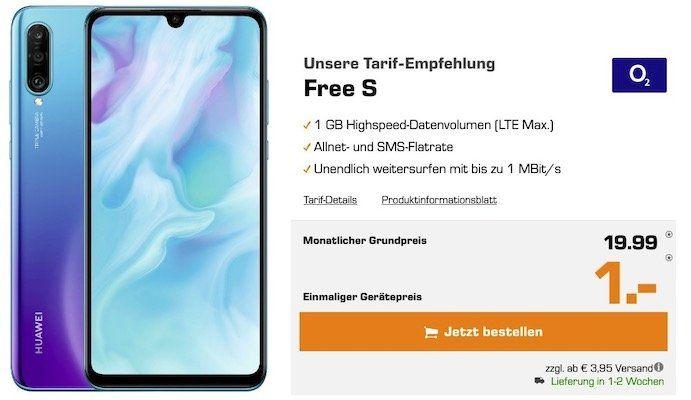 Huawei P30 lite für 1€ + o2 Allnet Flat mit 1GB LTE für 19,99€mtl.