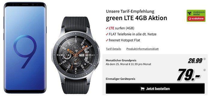 Samsung Galaxy S9+ mit Samsung Galaxy Watch 46mm für 79€ + Vodafone Allnet Flat mit 4GB LTE für 26,99€ mtl.