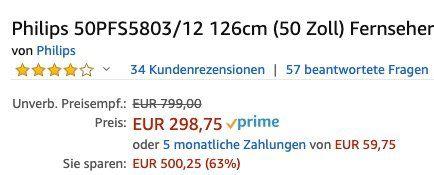 Vorbei! Philips 50PFS5803   50 Zoll Full HD Fernseher für 298,75€ (statt 399€)