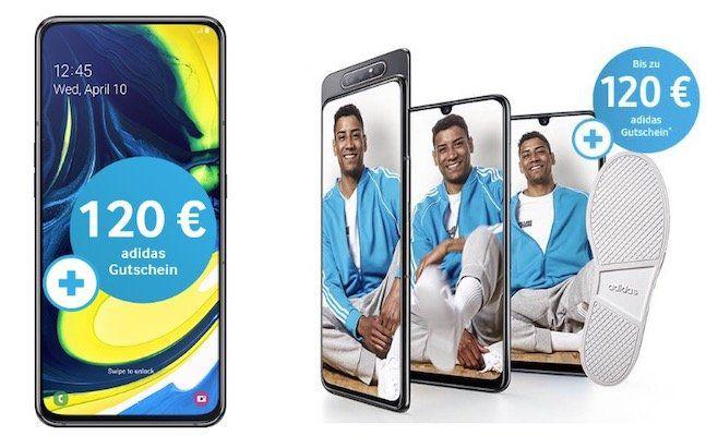 Samsung Galaxy A80 mit 128GB für 49,99€ + o2 Flat mit 3GB LTE für 28,99€ mtl. + 120€ adidas Gutschein