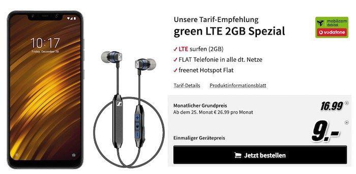 Xiaomi Pocophone F1 + Sennheiser CX6 Kopfhörer für 9€ + Vodafone Flat von mobilcom mit 2GB LTE für 16,99€ mtl.