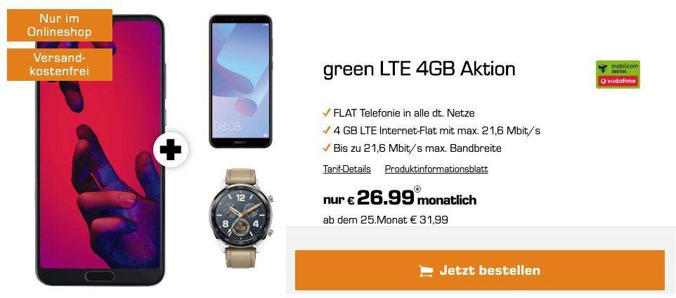 Huawei P20 Pro + Huawei Y6 + Huawei Watch GT für 29€ + Vodafone Flat mit 4GB LTE für 26,99€ mtl.