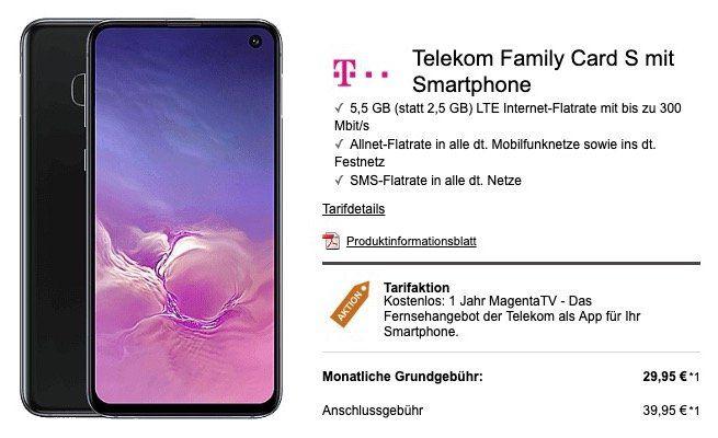 Telekom Family Card S mit 5,5GB LTE für 29,95€mtl. + 1 Jahr gratis MagentaTV + Samsung Galaxy S10e für 4,99€