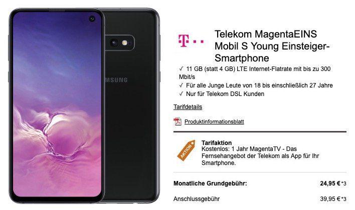 Junge Leute mit MagentaEins: Samsung Galaxy S10e für 4,99€ + Telekom Flat mit 11GB LTE für nur 24,95€mtl.