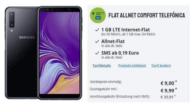 Samsung Galaxy A7 2018 für 9€ + o2 Flat mit 1GB LTE für 9,99€ mtl.