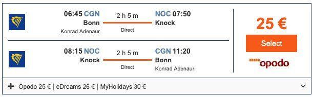Hin  und Rückflug von Köln/Bonn nach Irland (Knock) ab 25€