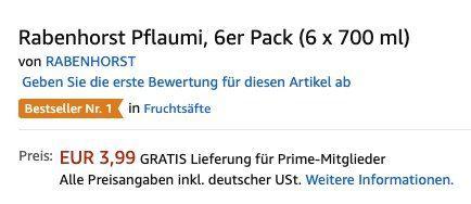 Vorbei! 6er Pack Rabenhorst Pflaumi (je 700 ml) ab 3,99€ (statt 21€)