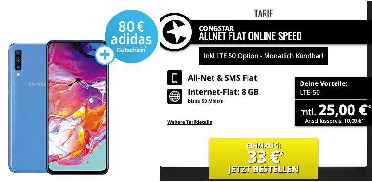 Samsung Galaxy A70 für 33€ + 80€ adidas Gutschein + Telekom Flat von Congstar mit 8GB LTE für 25€ mtl.