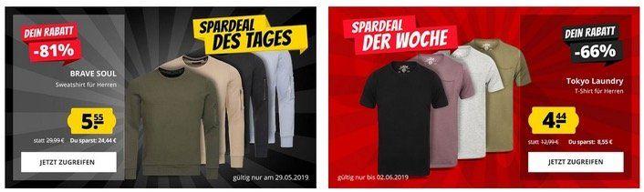 Brave Soul Sweatshirt für 5,55€ oder Tokyo Laundry Herren T Shirt für 4,44€   ab 50€ versandkostenfrei