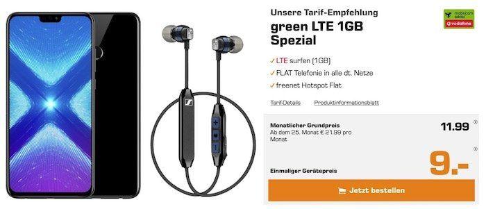 Honor 8x Dual SIM mit 64GB + Sennheiser CX6 für 9€ + Vodafone Flat mit 1GB LTE für 11,99€mtl.