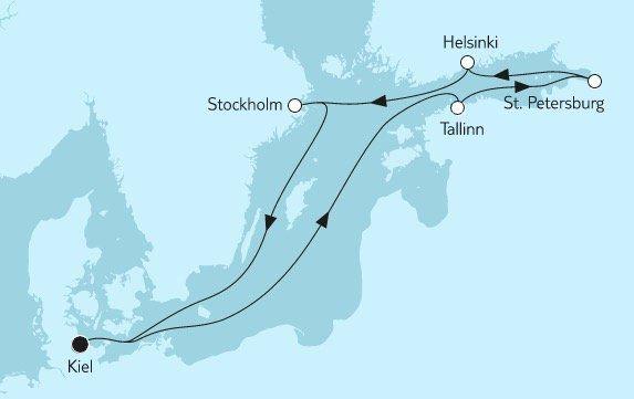 Mein Schiff Kreuzfahrt (9 Nächte) von Kiel nach St. Petersburg in Balkon Kabine ab 1.595€ p.P.