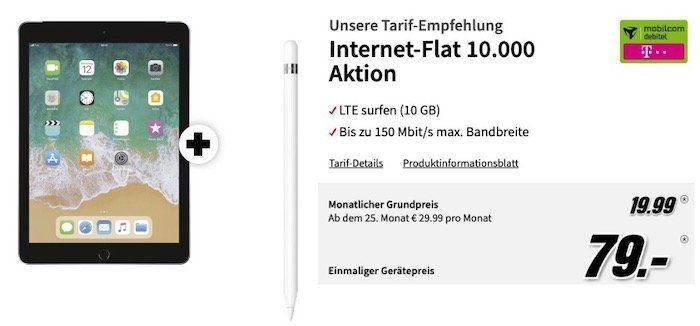 Apple iPad 2018 LTE + Pencil für 79€ + Telekom 10GB LTE Datenflat für 19,99€ mtl.