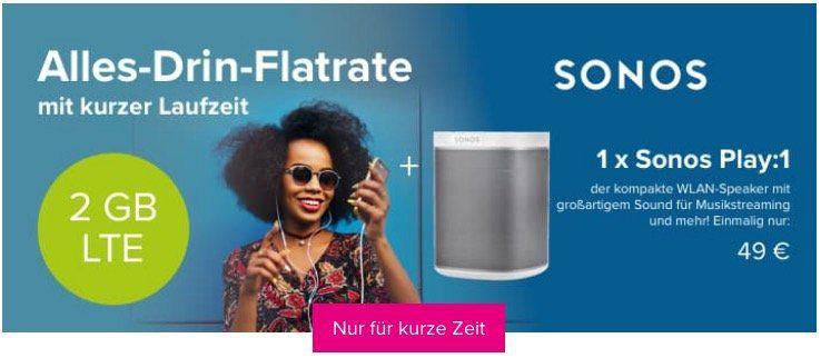 Letzte Chance: Sonos Play:1 nur 119€ statt 162€ dank o2 Tarif mit 6 Monaten Laufzeit