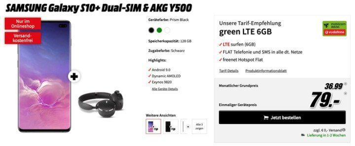 Galaxy S10+ mit 128GB für 79€ + gratis AKG Kopfhörer + Vodafone Flat mit 6GB LTE für 36,99€ mtl.