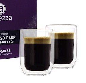 96 Altezza Kaffeekapseln für Nespresso inkl. 2 doppelwandige Kaffeegläser für 24,99€