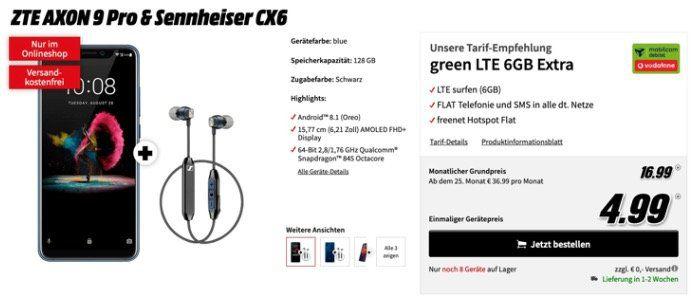 ZTE Axon 9 Pro + Sennheiser CX6 für 5€ + Vodafone Allnet Flat mit 6GB LTE für 16,99€ mtl.