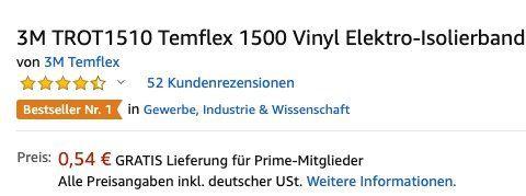 10 Meter 3M Temflex 1500 Vinyl Elektro Isolierband ab 0,54€ (statt 3€)   Prime!