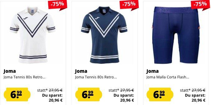 Joma Restposten Sale ab 3,33€   z.B. Poloshirts je nur 3,33€(statt 13€)