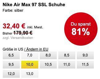 Vorbei! Nike Air Max 97 in Metallic Silver für 36,30€ (statt 124€)