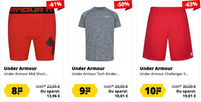Under Armour Sale bei SportSpar   z.B. Shorts, Shirts, Jacken, Schuhe