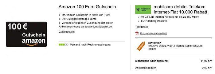 Ausverkauft! Telekom 4GB LTE Datentarif für 8,99€ mtl. oder 10GB für 11,99€ mtl.   dazu 100€ Amazon Gutschein