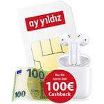 Apple AirPods (2. Generation) + 100€ Cashback + o2 Allnet-Flat von Ay Yildiz mit 4,5GB LTE für 14,99€ mtl.