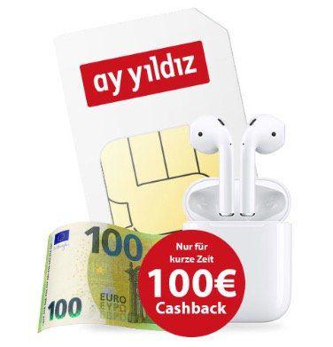 Apple AirPods (2. Generation) + 100€ Cashback + o2 Allnet Flat von Ay Yildiz mit 4,5GB LTE für 14,99€ mtl.