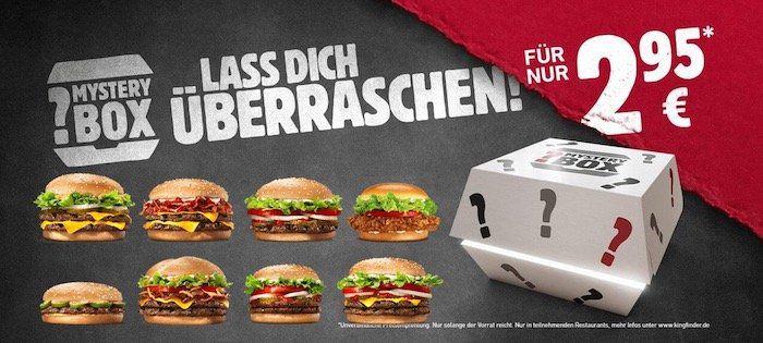 BurgerKing Mystery Box: Überraschungs Burger für 2,99€ z.B. Bacon King, BigKing XXL, Double Steakhouse