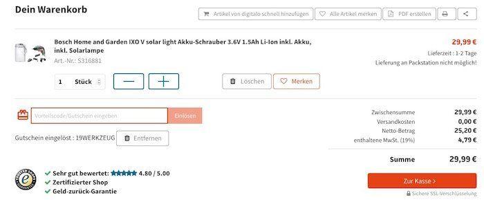 Bosch IXO Akkuschrauber + Solarlampe 2in1 + Bits für 29,99€ (statt 40€)