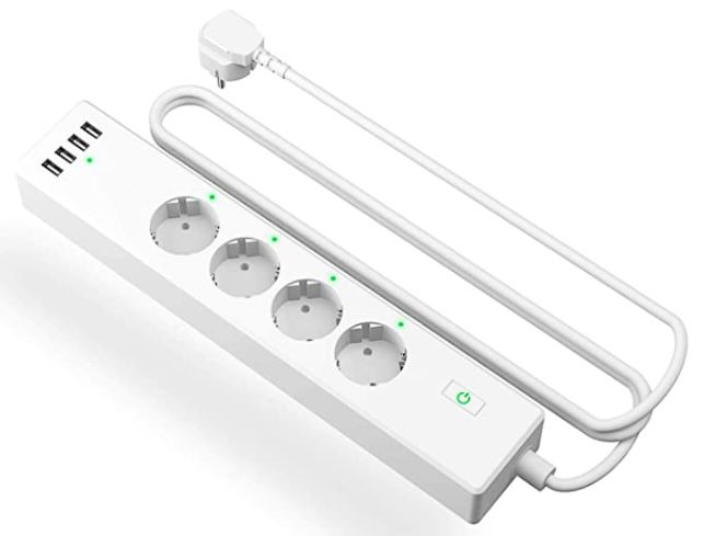 Meross 4 fach Steckdosenleiste mit 4 USB Ports   kompatibel mit Alexa, Google Home & IFTT für 22,44€ (statt 35€)