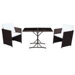 """Poly Rattan Sitzgruppe """"Cube"""" in Braun mit 2 Sesseln und klappbarem Glastisch für 89,91€ (statt 120€)"""