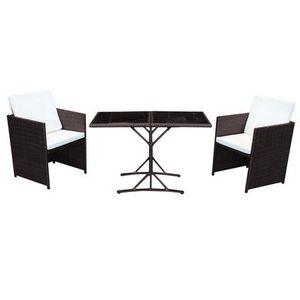 Poly Rattan Sitzgruppe Cube in Braun mit 2 Sesseln und klappbarem Glastisch für 89,91€ (statt 120€)