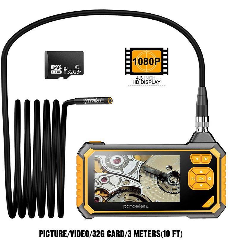 Pancellent Digitales Industrie Endoskop mit 4,3 FullHD Farbdisplay für 63,59€ (statt 106€)