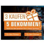 Games & Filme: 3 kaufen + 2 geschenkt bei Saturn
