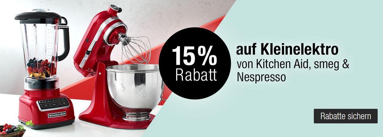 Galeria Kaufhof Sonntag: z.B. 15% Rabatt auf Kleinelektro von Kitchen Aid, smeg & Nespresso  T op Fashion Marken für Kinder von adidas, JACK & JONES uvam.