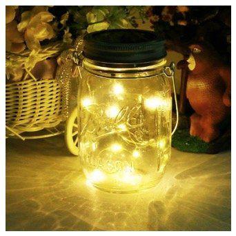 Solar Laterne Mason Jar Licht mit 20 LED Lichterkett für 6,99€ (statt 14€)