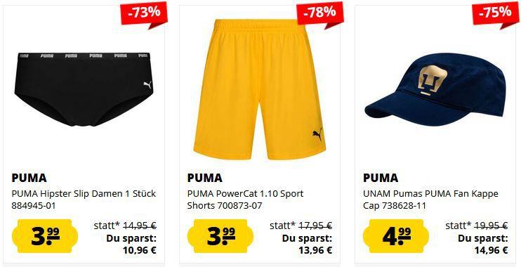 SportSpar Puma Sale mit Einzelstücken ab 0,99€   z.B. Puma Shorts ab 3,99€ (statt 14€)