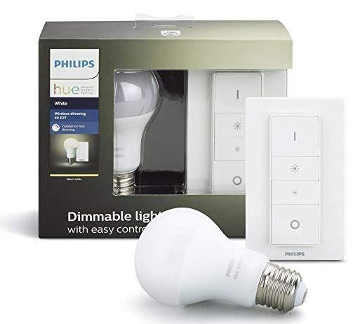 Vorbei! PHILIPS Hue White 2 LEDs E27 + 2 Dimmer für 32,05€ (statt 49€)