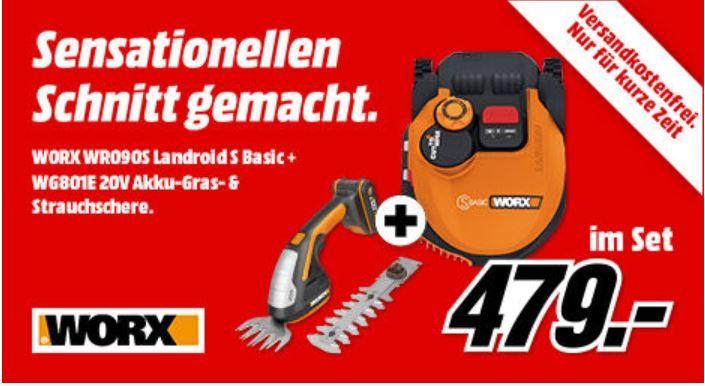 WORX WR090S Landroid S Basic Mähroboter + WORX WG801E 20V Akku Gartenscherenset für 479€ (statt 539€)