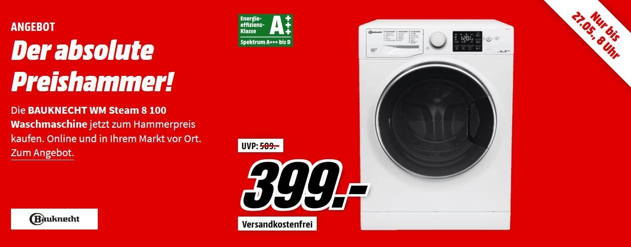 BAUKNECHT WM Steam 8 100 Waschmaschine (8 kg, 1400 U/Min., A+++) für 399€ (statt 449€)