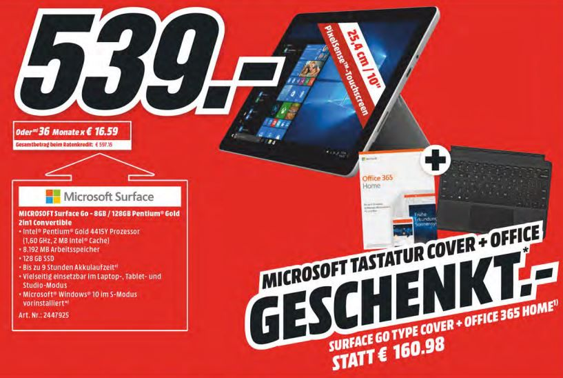Microsoft Surface Go mit 8GB + Type Cover + Office 365 Personal für 539€ (statt 635€)